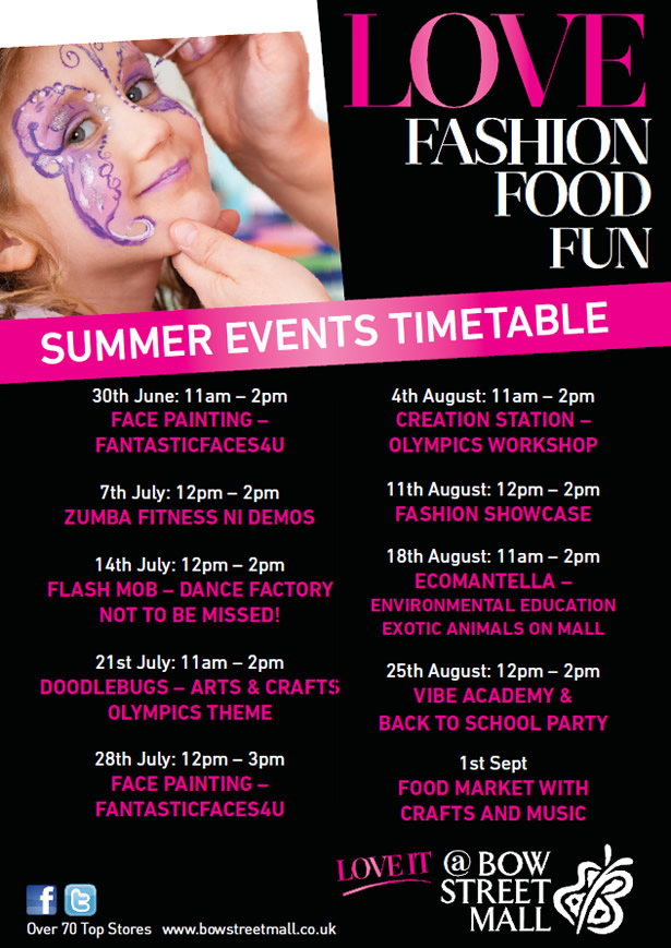 Summer Events Timetable at Bow Street Mall Lisburn